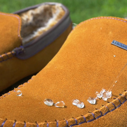 water beading on suede slipper