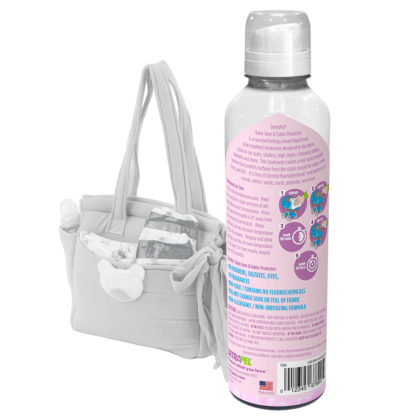 Baby Gear & Fabric Protector by DetraPel. Protects baby gear, baby fabrics, bibs, high chairs, cribs, diapers, diaper bags, car seats, strollers.