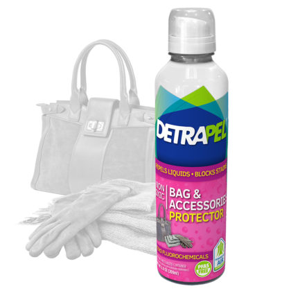 Bag & Accessories Protector by DetraPel. Protects bags, handbags, gloves, scarves, hats, ties, diaper bags, purses, clutches, satchels, totes, backpacks, sports bags, travel bags, and hobos.