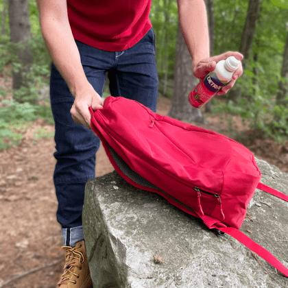 Spraying outdoor gear protector