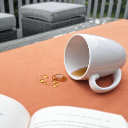 tea spilt on on outdoor fabric