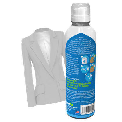 Fabric & Clothing Protector by DetraPel. Protects cotton, suede, wool, polyester, denim, jeans, suits, ties, shirts, dress shirts, skirts, suit jacket, jeans, pants, wool suits,