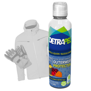 High Performance Outerwear Protector by DetraPel. Protects gloves, jackets, ski jackets, Gortex shells, ski pants, snowboard.