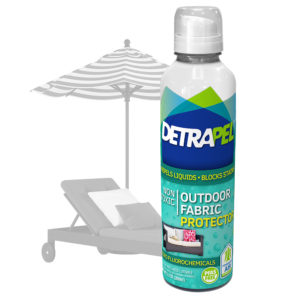 Outdoor Fabric Protector by DetraPel. Protects patio furniture, cushions, umbrellas, awnings, patio chairs, sunbrella, sun fading, outdoor chairs, and outdoor fabrics.