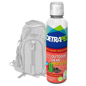 Outdoor Gear Protector by DetraPel. Protects backpacks, sleeping bags, tents, hunting, gloves, hiking boots, ski masks, glasses, and other outdoor fabrics.