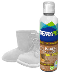 Suede & Nubuck Protector by DetraPel. Protects Ugg, suede shoes, boots, construction, nubuck, work, Timberland, Bearpaw, Carhart, suede bags, gloves, ties, accessories, and leather.