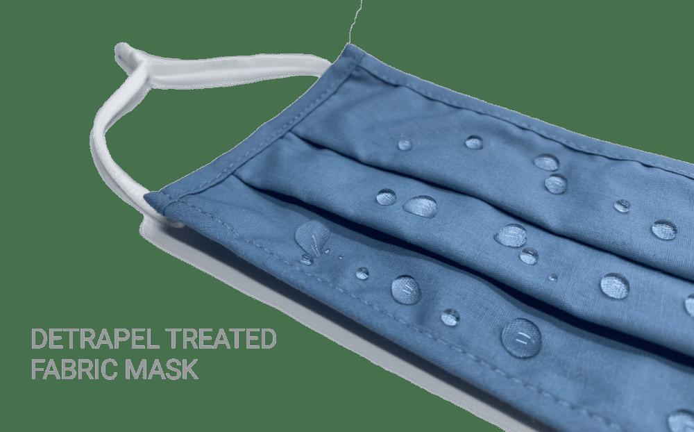 DetraPel treated mask repels liquid droplets
