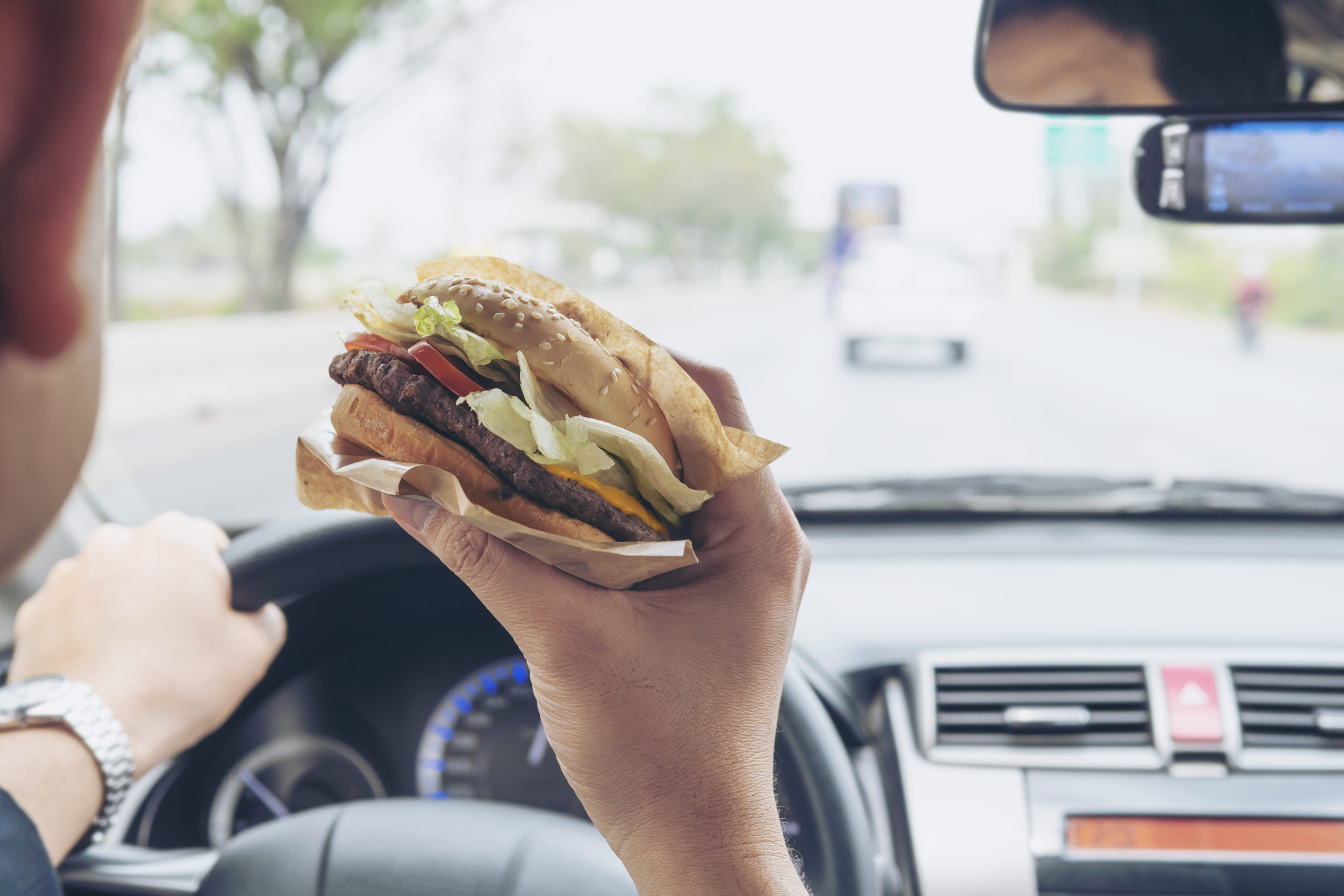 Food stains in car from fast food